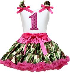 Hot Pink Birthday No. White Top Camo Camouflage Pettiskirt Girl Outfit Set 1-8Y