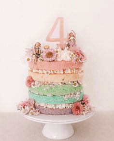 Rainbow fairy cake for a fairy obsessed four year old 🧚‍♂️🌈💫 Fairy Garden Cake, Garden Cakes, Fairy Cakes, Fairy Birthday Cake, Birthday Cake With Flowers, Birthday Cake Girls, 3 Year Old Birthday Cake, 4th Birthday, Birthday Cakes