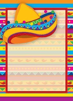 Fiesta Party Decorations, Fiesta Theme Party, Mexican Birthday, Mexican Party, Loteria Cards, Cute Frames, Deco Boheme, Scrapbook Templates, Birthday Invitations