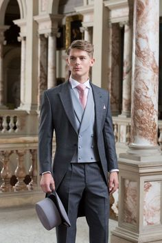 Latest Coat Pant Designs Grey Tailcoat Double Breasted Formal Wedding Suits For Men Custom Made 3 Pieces Tuxedo Masculino C Wedding Men, Wedding Suits, Wedding Attire, Formal Wedding, Wedding Ideas, Wedding Themes, Wedding Tuxedos, Trendy Wedding, Wedding Top Hat