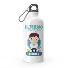 Termo - El termo del mejor biólogo, encuentra este producto en nuestra tienda online y personalízalo con un nombre. Water Bottle, Drinks, Social, Priest, Carton Box, Store, Crates, Musica, Working Man