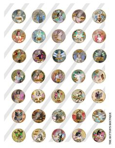 Digital Collage Sassy Pants Vintage Fairies Bottle Caps 1 inch Charm Circles. $3.00, via Etsy.