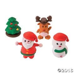 3D Christmas Character Erasers