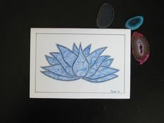 Hand drawn lotus greeting card. by AmoryPapel on Etsy, $4.00