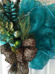Peacock and Leopard Christmas Wreath by Carol's Creations.