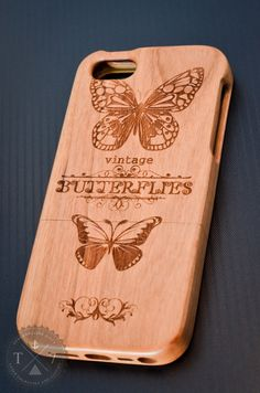 Vintage Butterfly A008 Laser engraved Wood case for iPhone 4/4S/5 with mat plastic