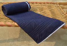Indigo colour quilted bedspread, stripe pattern, reversible, cotton kantha quilt, 100% cotton, 60X90 inches