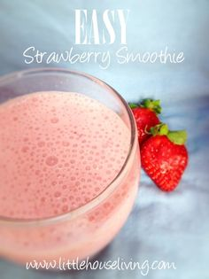 Easy Strawberry Smoothie Recipe. Need a healthy snack? This smoothie is so simple and delicious!