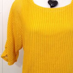 {Beautiful} Sunny Yellow Textured 3/4 Sleeve Top L 2 piece set. Yellow tank and matching yellow textured small open weave top. 3/4 sleeve. Like new. Choices Tops Blouses