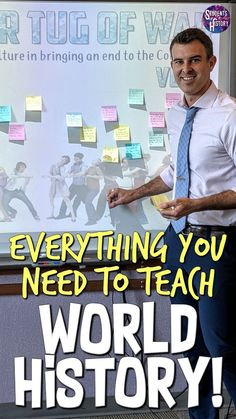 World History Classroom Activities & Lessons! - Everything you need to teach World History! Our complete curriculum includes lesson plans, videos, - World History Projects, World History Facts, World History Classroom, World History Teaching, World History Lessons, History Education, History Teachers, History Memes, History Interactive Notebook