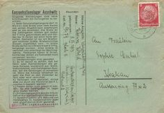 Postalische Dokumente aus Auschwitz Nach dem Einmarsch sowjetischer Soldaten der 60. Armee der Ersten Ukrainischen Front am 27. Januar 1945 in das Konzentrationslager Auschwitz, dem größten Vernic...