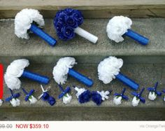 Royal blue and white wedding bridal bouquet by TheBridalFlower
