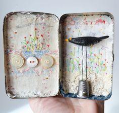 ARTWORK ..MIXED MEDIA  Altered Tin Artwork by hensteeth on Etsy