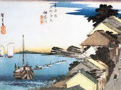 東海道五十三次の神奈川宿と廻船。茶屋が立ち並ぶこの地点は、神奈川宿で最も眺めの良いところであった。歌川広重・画