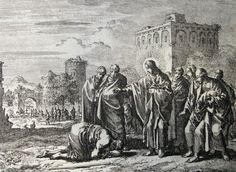 427 Life of Christ Phillip Medhurst Collection 4878 Christ cleanses the leper Luke 5.12-13 Luyken