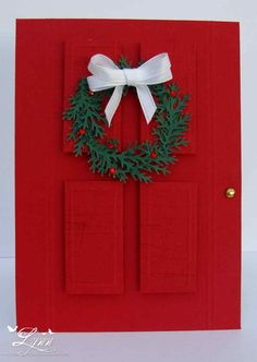 Christmas card...red paneled door with a cute green wreath...