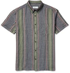 Arundell Striped Nep Cotton and Linen-Blend Shirt | MR PORTER