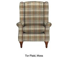 Elizabeth chair in Tor Plaid Moss from M Armchair, Room Ideas, Plaid, Living Room, Furniture, Home Decor, Chairs, Chair, Sofa Chair