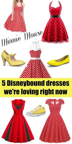 5 Minnie Mouse Disneybound Dresses that We're Loving Right Now - Sand and Snow Disney Dress Up, Disney Clothes, Dapper Day Outfits, Disney Inspired Fashion, Disney Fashion, Minnie Mouse Costume, Disney Bound Outfits, Disney Costumes, Disney Style