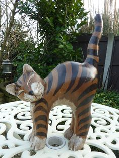 Attractive Solid Wood Decorative Hand Carved Stripy Cat Ornament Interior Home | eBay