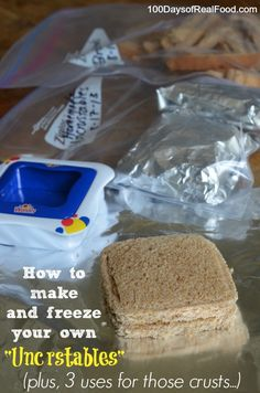 "Freezer friendly, healthy, made-in-minutes, homemade ""uncrustables"" via 100 Days of Real Food #backtoschool #cleaneats"