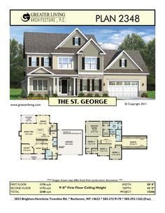 Plan 2348: THE ST. GEORGE - - House Plans - Two Story House Plans - 2 Story - Greater Living Architecture - Residential Architecture
