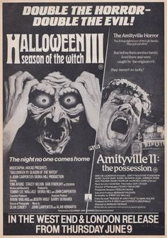 Halloween 3 / Amityville 2: The Possession (both 1982) Amazing double-bill poster for London cinemas.