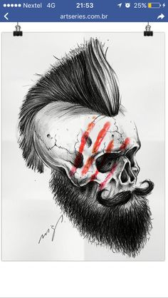 Skull p Beard Skull Tattoos, Cool Tattoos, Panzer Tattoo, Koch Tattoo, Bart Tattoo, Tattoo Caveira, Totenkopf Tattoos, Desenho Tattoo, Skull Design
