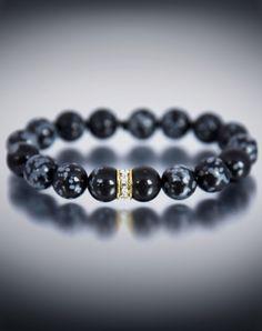 Dyoh Jewelry - Swarovski Crystal Gold Inset and 10 mm Leopard Jasper Bead Bracelet DYOH554-101 Dyoh Bead Bracelet