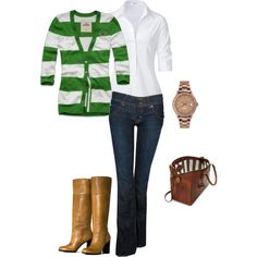 """Fall Fun!"" by eflippin on Polyvore. I own the shirt and cardigan already an similar boots! Cute."