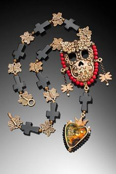 Honoring Necklace by Lorena Angulo Bronze, onix, red coral, pearls, dry flowers, rice and resin