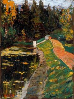 Study for sluice - Wassily Kandinsky, Post-Impressionism, landscape Wassily Kandinsky, Monet, Landscape Art, Landscape Paintings, Henri Matisse, Post Impressionism, Russian Art, Pablo Picasso, Abstract Art