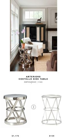 @inthomescapes Arteriors Costello Iron Side Table $1176 vs @overstock INSPIRE Q Berke Mirrored Top Round End Side Table $139 | copy cat chic look for less