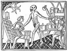 the printing press and the devil Danse Macabre, Memento Mori, Lyon, Dance Of Death, Printing Press, Bookbinding, Line Drawing, Letterpress, Medieval