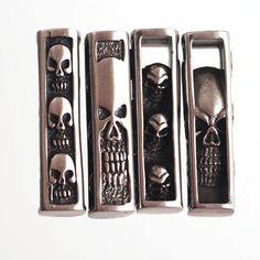 Santi Skulls - Pewter Skull Fob - 4 Sided Fob - Skull Bead - Thailand