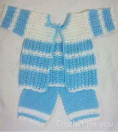 Free Crochet-Baby-Sweater-set pattern