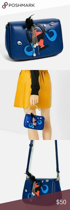 "ZARA HOROSCOPE CROSSBODY BAG ""Aquarius"" brand new with tags, mini crossbody, royal blue handbag with embellishments. Crossbody strap included. Zara Bags Crossbody Bags"