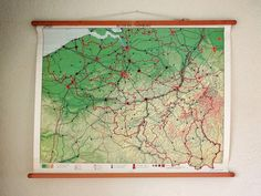 vintage wall chart/Dutch educational poster with map of Belgium and Luxembourg. Available at AtticAntics