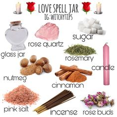 🌹 LOVE SPELL JAR 🌹 Please read the disclaimer photo before asking if you can use this for love/lust/sex/self love jar. YES, YOU CAN! You… Order your love spells online from Professional Love Spell Caster. Strong Love Spells that work. Witchcraft Spell Books, Wiccan Spell Book, Wiccan Witch, Witch Rituals, Wicca Love Spell, Witch Spell, Love Spell Candle, Hoodoo Spells, Magick Spells