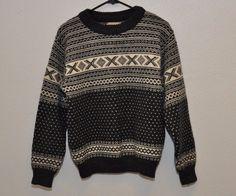 LL Bean Vintage Wool Fisherman Knit Crew neck Sweater Women's M Ski Winter #LLBean #Crewneck