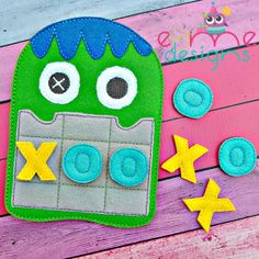 Scary Monster Tic Tac Toe Embroidery Design - or Larger - E&Me Designs Felt Games, Toe Designs, Scary Monsters, Felt Quiet Books, Tic Tac Toe, Machine Embroidery Applique, Book Quilt, Gifts For Kids, Embroidery Designs