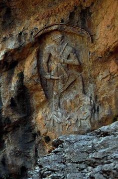 Naram-Sin Rock Relief at Darband-i-Gawr, Qaradagh Mountain, Sulaymaniyah Governorate, Iraq.