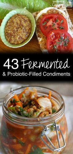 43 Fermented and Probiotic-Filled Condiments | Your family just. doesn't. like. them. Like what? Fermented foods. I know... shocking. ;) Yet, actually, this is very common! So I'm bound and determined to help you succeed! Let's continue on our ever-important quest to add more beneficial bacteria to our guts, this time with 43 probiotic-filled, fermented condiments! Because, for real, who doesn't like ketchup? | TraditionalCookingSchool.com