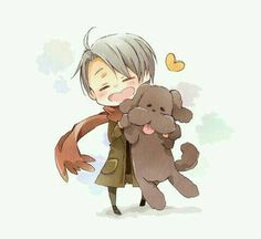 Chibi Victor holding his dog Makkachin from the anime Yuri on Ice