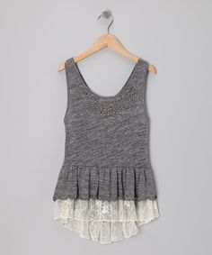 Take a look at this Gray Ruffle Top by Sugar Tart on #zulily today!