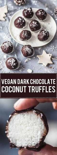 These amazing Vegan and Gluten-Free Dark Chocolate Coconut Truffles are pure bliss in every single bite! #chocolate #vegan #glutenfree