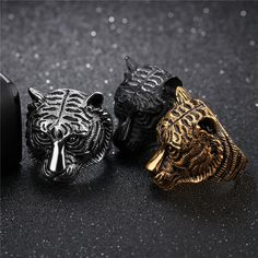 Stainless Steel Animal Ring For Men * Sz 7-11 / Gold Silver Black / Tiger Head Vintage Rings