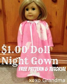 Free pattern: Doll nightgown, make one from a dollar store blanket