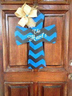 Police Officer Law Enforcement Blue Line Cross by DoorDecorbyBree, $35.00