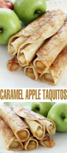 Apple Taquitos - Life Love Liz - These Caramel Apple Taquitos are a fun fall dessert full of apple and caramel! -Caramel Apple Taquitos - Life Love Liz - These Caramel Apple Taquitos are a fun fall dessert full of apple and caram. Apple Recipes, Fall Recipes, Baking Recipes, Snack Recipes, Snacks, Fall Dessert Recipes, Potluck Recipes, Dessert Party, Nutella